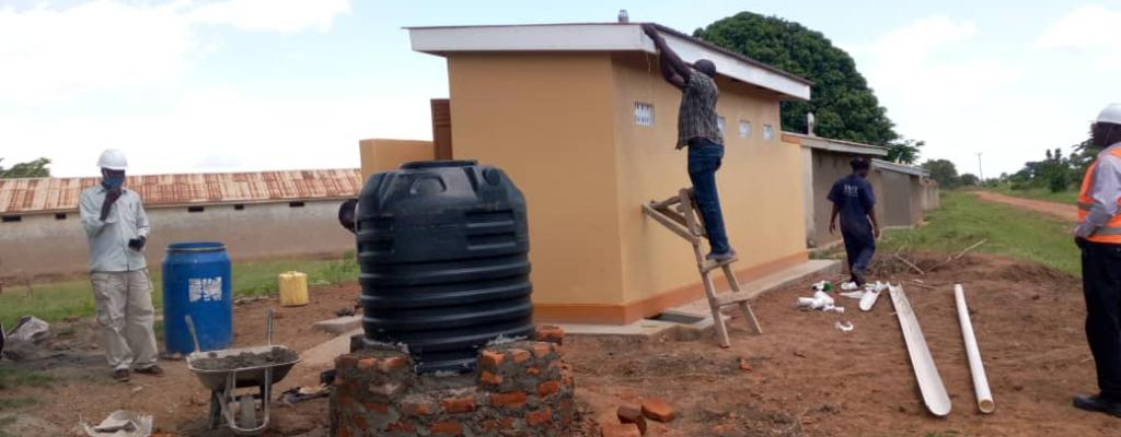 A 5 stance VIP latrine in Agu Primary School Agu Parish, Ngora Sub-county, under completion FY 2019-20